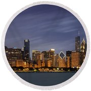 Round Beach Towel featuring the photograph Chicago Skyline At Night Color Panoramic by Adam Romanowicz