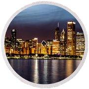Chicago Skyline At Night Panoramic Round Beach Towel