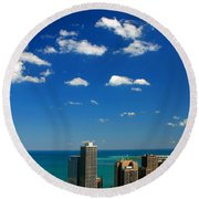 Chicago Skyline Big Sky Lake Round Beach Towel