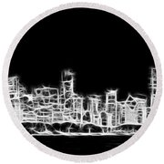 Chicago Skyline Fractal Black And White Round Beach Towel by Adam Romanowicz