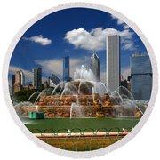 Chicago Skyline Grant Park Fountain Clouds Round Beach Towel