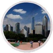 Chicago Skyline Grant Park Round Beach Towel