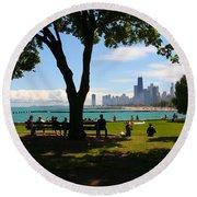Chicago Skyline Lakefront Park Round Beach Towel