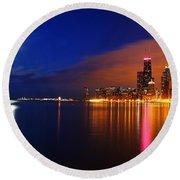 Chicago Skyline Moonlight Round Beach Towel