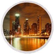 Chicago Skyline Night Amber Round Beach Towel