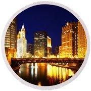 Chicago Skyline Night River Round Beach Towel