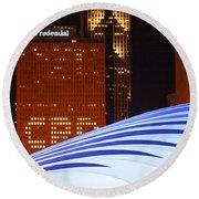 Chicago Skyline Orb Round Beach Towel