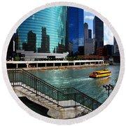 Chicago Skyline River Boat Round Beach Towel