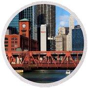 Chicago Skyline River Bridge Round Beach Towel