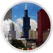 Chicago Skyline Sears Tower Round Beach Towel