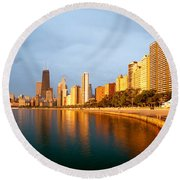 Chicago Skyline Round Beach Towel by Sebastian Musial