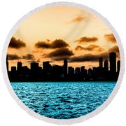 Chicago Skyline Silhouette Round Beach Towel