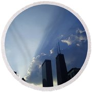 Chicago Sunset Round Beach Towel