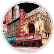 Chicago Theater - 23 Round Beach Towel by Ely Arsha