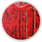Chicago Theater Round Beach Towel by George Riney