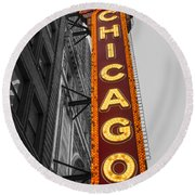 Chicago Theater Selective Color Round Beach Towel