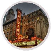 Chicago Theatre Hdr Round Beach Towel