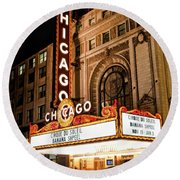 Chicago Theatre Marquee Sign At Night Round Beach Towel