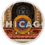 Chicago Theatre Marquee Sign Round Beach Towel by Christopher Arndt