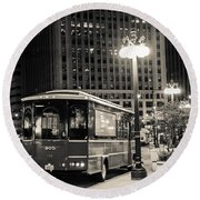 Chicago Trolly Stop Round Beach Towel by Melinda Ledsome