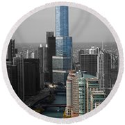 Chicago Trump Tower Blue Selective Coloring Round Beach Towel by Thomas Woolworth