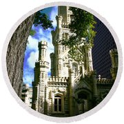 Chicago Water Tower Castle Round Beach Towel