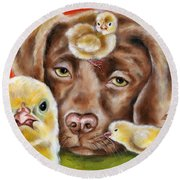 Round Beach Towel featuring the painting Chick Sitting Afternoon by Hiroko Sakai