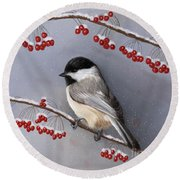 Chickadee And Berries Round Beach Towel