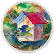 Chickadee Bungalow Round Beach Towel