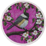 Chickadee In Apple Blossoms Round Beach Towel