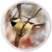 Round Beach Towel featuring the painting Chickadee Watercolor by Kerri Farley