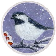 Chickadee Winter Round Beach Towel
