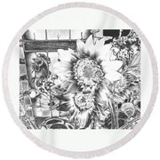 Rooster And Chicken House Chromed Round Beach Towel by Belinda Lee