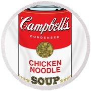 Chicken Noodle Soup Round Beach Towel