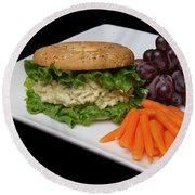Chicken Salad Sandwich - Red Grapes - Baby Carrots - Deli Round Beach Towel