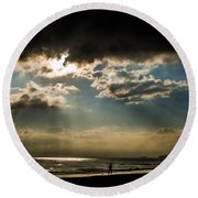 Chick's Beach Morning Round Beach Towel by Angela DeFrias