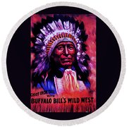 Round Beach Towel featuring the painting Chief Iron Tail Buffalo Bill's Wild West by Peter Gumaer Ogden