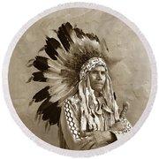 Chief Red Eagle Carmel California Circa 1940 Round Beach Towel