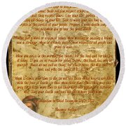 Round Beach Towel featuring the mixed media Chief Tecumseh Poem - Live Your Life by Celestial Images