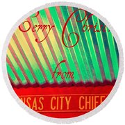Chiefs Christmas Round Beach Towel by Chris Berry