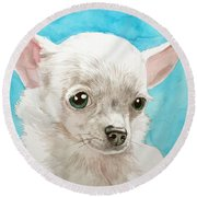 Chihuahua Dog White Round Beach Towel