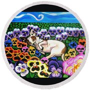 Chihuahua In Flowers Round Beach Towel