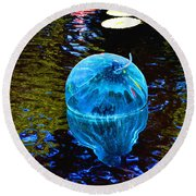 Artsy Blue Glass Float Round Beach Towel