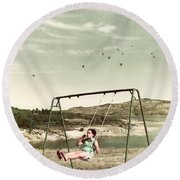Child In A Swing Round Beach Towel