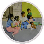 Round Beach Towel featuring the painting Children's Attention Span  by Thomas J Herring