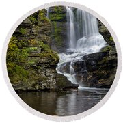 Childs Park Waterfall Round Beach Towel by Susan Candelario