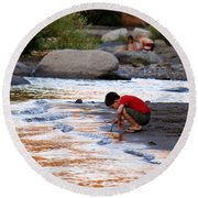 Round Beach Towel featuring the photograph Childs Play by Melanie Lankford Photography