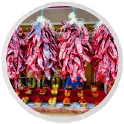 Chile Ristras And Apples Round Beach Towel