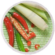 Chili Peppers And Lemon Grass Round Beach Towel