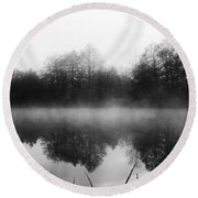Chilly Morning Reflections Round Beach Towel